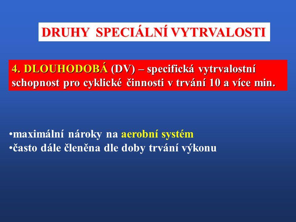 4. DLOUHODOBÁ (DV) – specifická vytrvalostní schopnost pro cyklické činnosti v trvání 10 a více min. maximální nároky na aerobní systém často dále čle