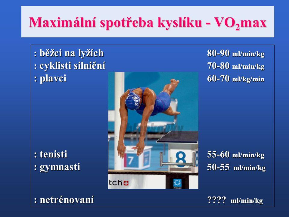 Maximální spotřeba kyslíku - VO 2 max : běžci na lyžích 80-90 ml/min/kg : cyklisti silniční 70-80 ml/min/kg : plavci 60-70 ml/kg/min : tenisti 55-60 m