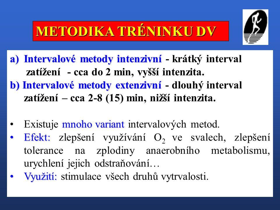 a)Intervalové metody intenzivní a)Intervalové metody intenzivní - krátký interval zatížení - cca do 2 min, vyšší intenzita. b) Intervalové metody exte