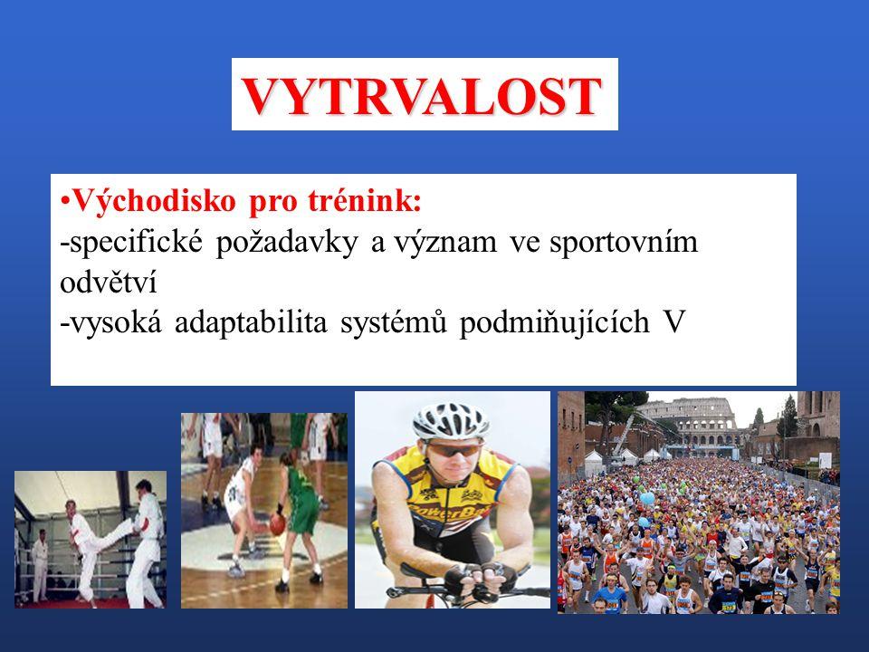 Východisko pro trénink: -specifické požadavky a význam ve sportovním odvětví -vysoká adaptabilita systémů podmiňujících V VYTRVALOST