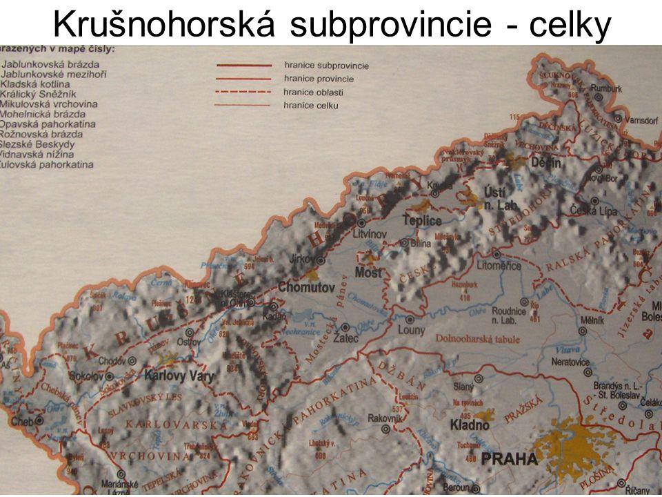 Krušné hory vyzdviženy během třetihor (k nám spadají prudce) pod nimi vytvořeny hnědouhelné pánve – celá oblast poznamenána těžbou uhlí, těžkým průmyslem a provozem tepelných elektráren.