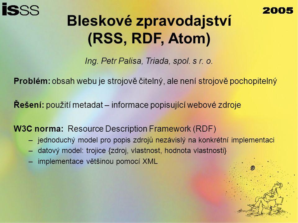 1 Bleskové zpravodajství (RSS, RDF, Atom) Ing. Petr Palisa, Triada, spol.