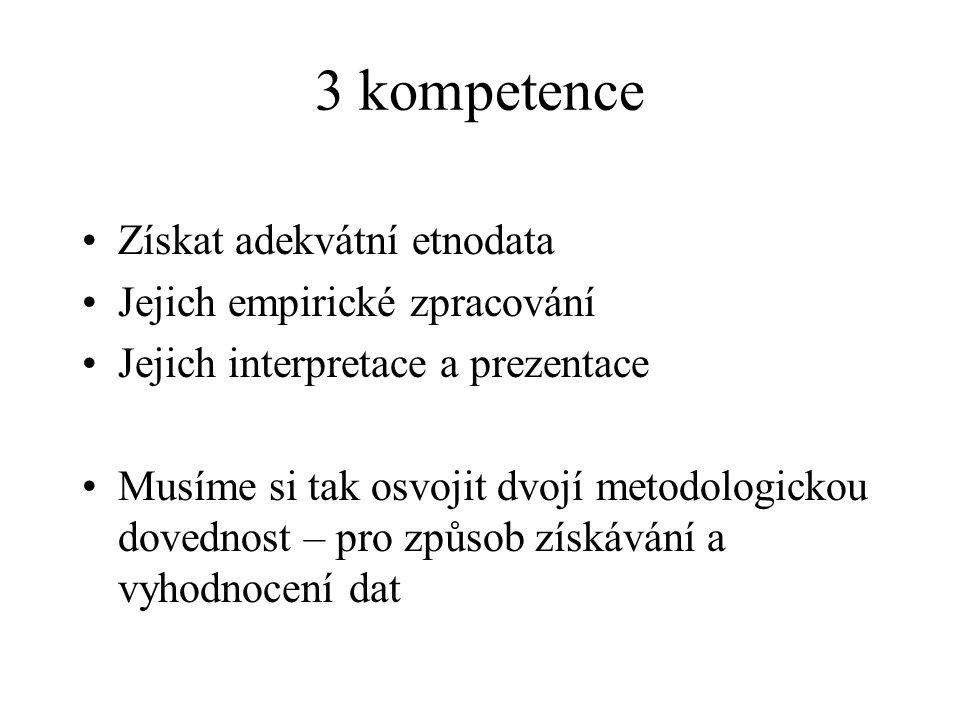 3 kompetence Získat adekvátní etnodata Jejich empirické zpracování Jejich interpretace a prezentace Musíme si tak osvojit dvojí metodologickou dovedno