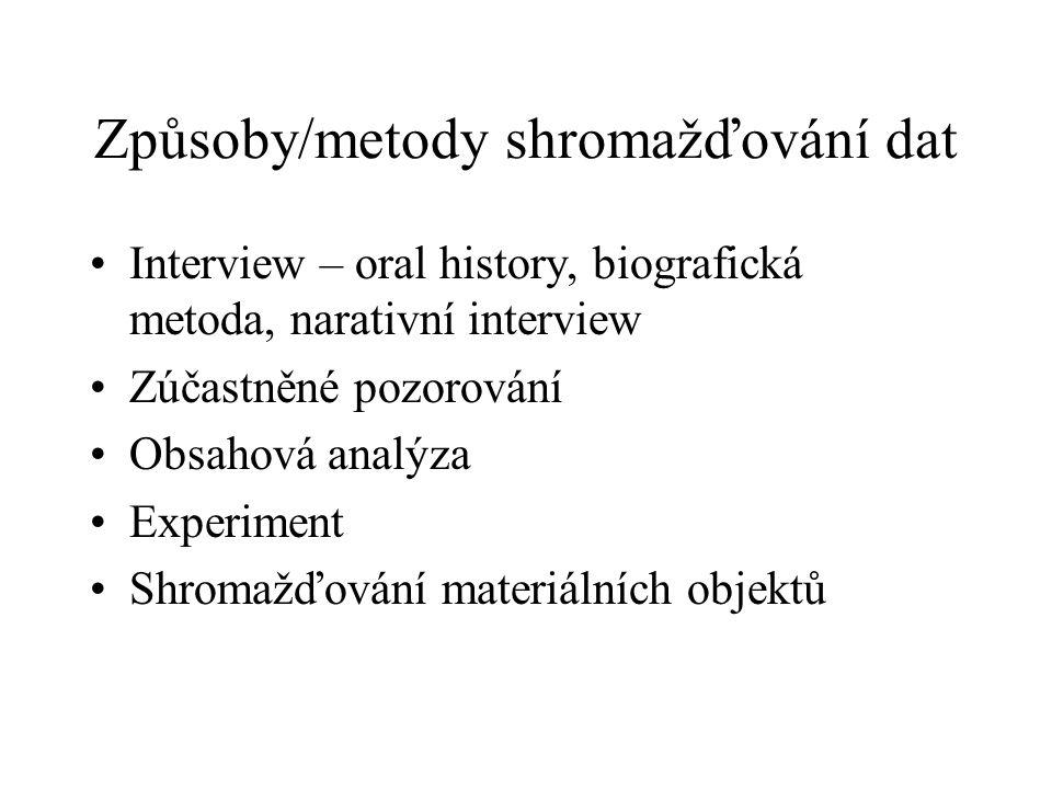 Způsoby/metody shromažďování dat Interview – oral history, biografická metoda, narativní interview Zúčastněné pozorování Obsahová analýza Experiment S