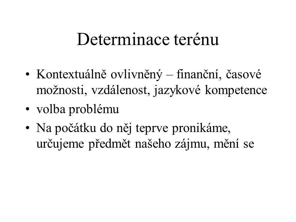Determinace terénu Kontextuálně ovlivněný – finanční, časové možnosti, vzdálenost, jazykové kompetence volba problému Na počátku do něj teprve proniká