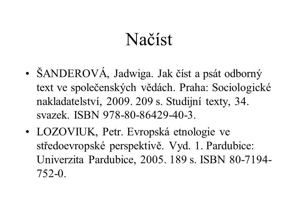 Načíst ŠANDEROVÁ, Jadwiga. Jak číst a psát odborný text ve společenských vědách. Praha: Sociologické nakladatelství, 2009. 209 s. Studijní texty, 34.