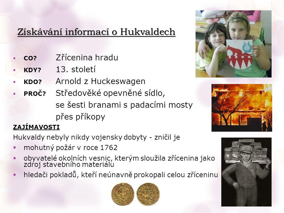 Získávání informací o Hukvaldech  CO. Zřícenina hradu  KDY.