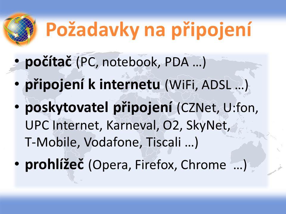 Požadavky na připojení počítač (PC, notebook, PDA …) připojení k internetu (WiFi, ADSL …) poskytovatel připojení (CZNet, U:fon, UPC Internet, Karneval