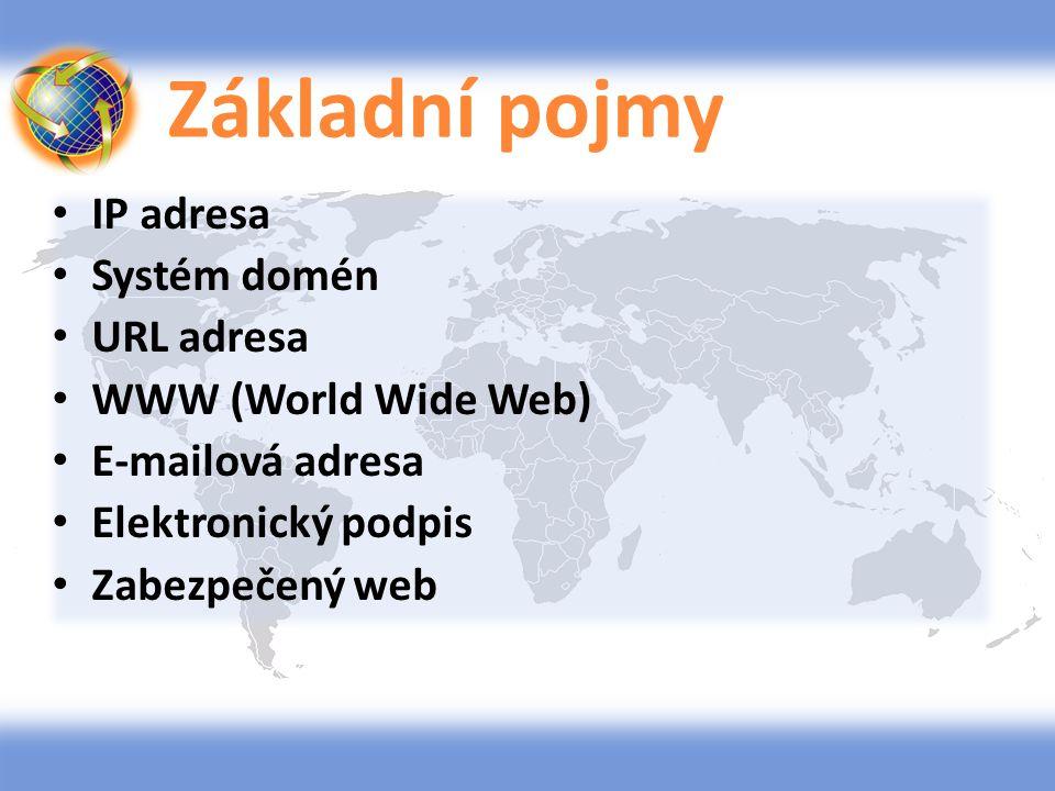 Základní pojmy IP adresa Systém domén URL adresa WWW (World Wide Web) E-mailová adresa Elektronický podpis Zabezpečený web