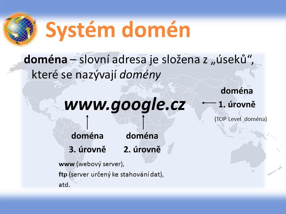 """Systém domén doména – slovní adresa je složena z """"úseků"""", které se nazývají domény www.google.cz doména 1. úrovně doména 2. úrovně doména 3. úrovně (T"""