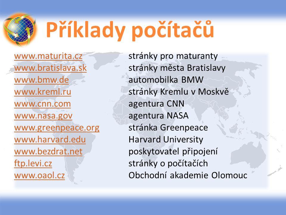Příklady počítačů www.maturita.czwww.maturita.czstránky pro maturanty www.bratislava.skwww.bratislava.skstránky města Bratislavy www.bmw.dewww.bmw.dea