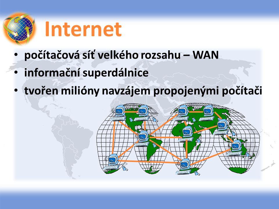 Internet počítačová síť velkého rozsahu – WAN informační superdálnice tvořen milióny navzájem propojenými počítači