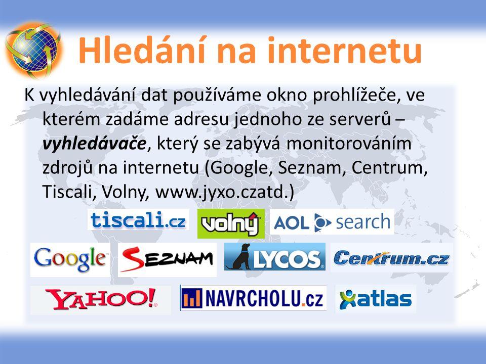 Hledání na internetu K vyhledávání dat používáme okno prohlížeče, ve kterém zadáme adresu jednoho ze serverů – vyhledávače, který se zabývá monitorová