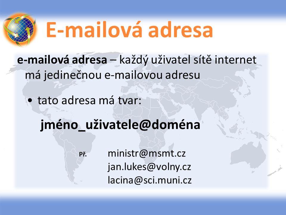 E-mailová adresa e-mailová adresa – každý uživatel sítě internet má jedinečnou e-mailovou adresu tato adresa má tvar: jméno_uživatele@doména Př. minis