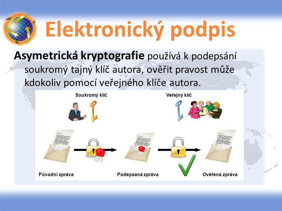 Elektronický podpis Asymetrická kryptografie používá k podepsání soukromý tajný klíč autora, ověřit pravost může kdokoliv pomocí veřejného klíče autor