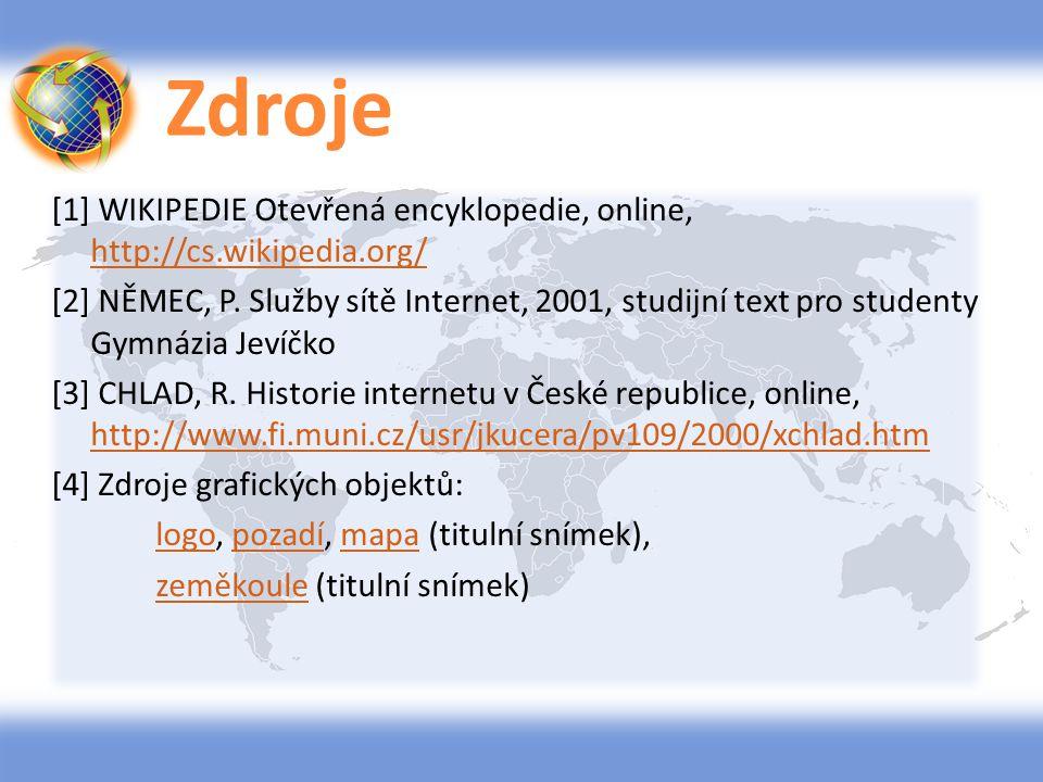 Zdroje [1] WIKIPEDIE Otevřená encyklopedie, online, http://cs.wikipedia.org/ http://cs.wikipedia.org/ [2] NĚMEC, P. Služby sítě Internet, 2001, studij