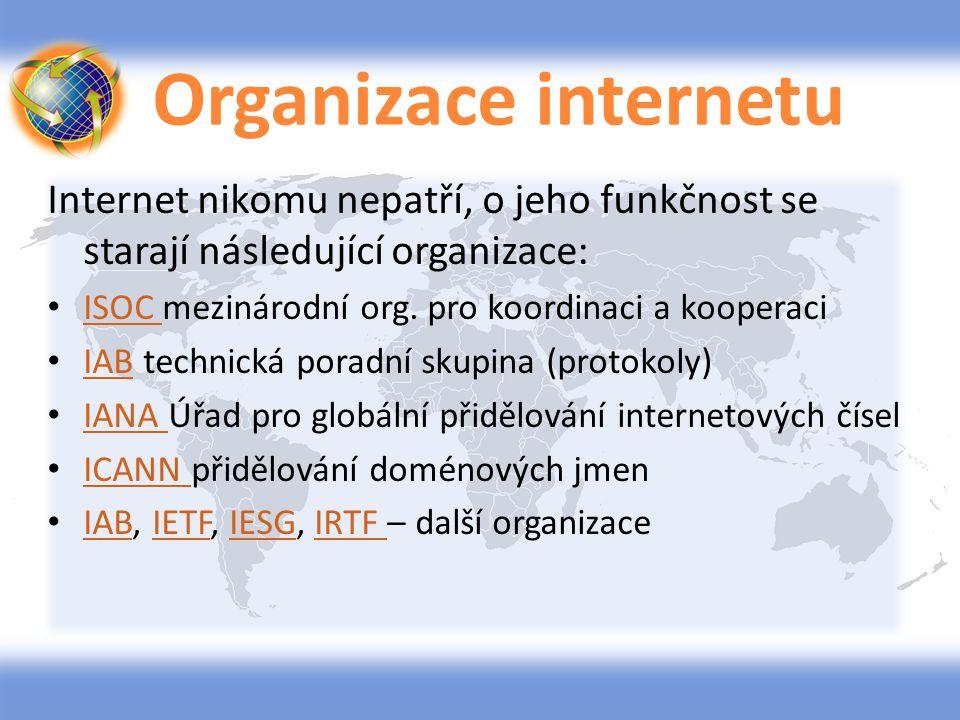 Organizace internetu Internet nikomu nepatří, o jeho funkčnost se starají následující organizace: ISOC mezinárodní org. pro koordinaci a kooperaci ISO