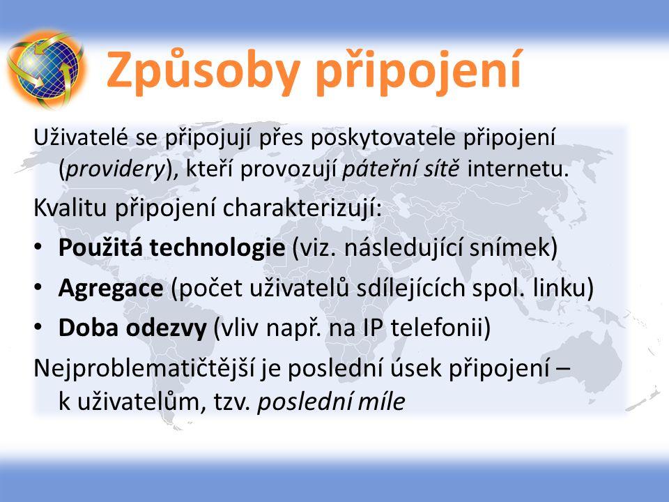 Způsoby připojení ADSL – digitální připojení po telefonní lince WiFi, WiMAX – bezdrátové připojení Mobilním telefonem – (GPRS, HSDPA, CDMA, WCDMA,EDGE, UMTS, LTE) Kabelovou televizí – po rozvodech kabelové TV Satelitním způsobem – nákladný způsob Elektrickou sítí 230V – v rámci domácnosti Dial-up – vytáčené připojení po tel.