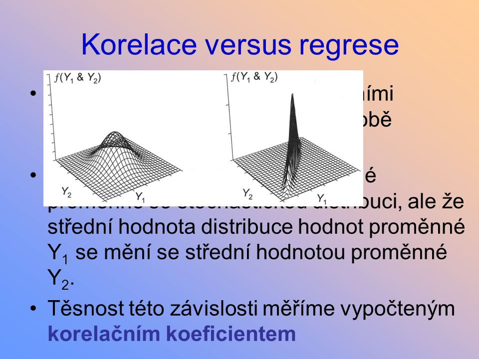 Lineární vztah proměnných Pearsonův korelační koeficient Součin v čitateli je kladný, pokud jsou kladné odchylky od průměru u X spojeny s kladnými odchylkami u Y, a podobně záporné se zápornými Bezrozměrná veličina, v rozsahu -1.0 až +1.0