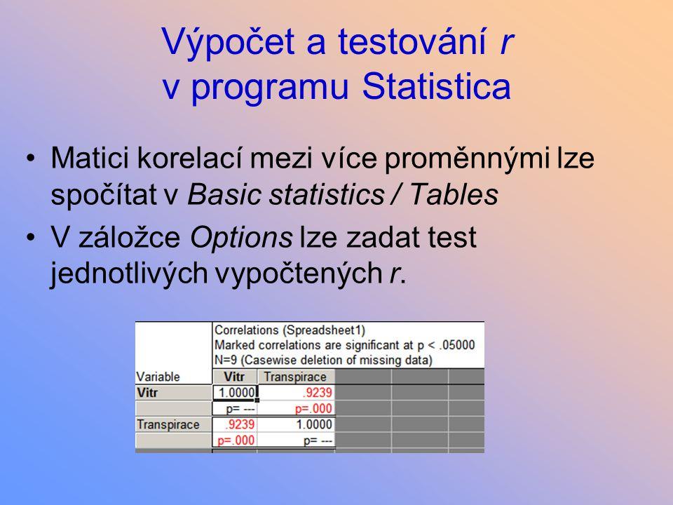 Výpočet a testování r v programu Statistica Matici korelací mezi více proměnnými lze spočítat v Basic statistics / Tables V záložce Options lze zadat