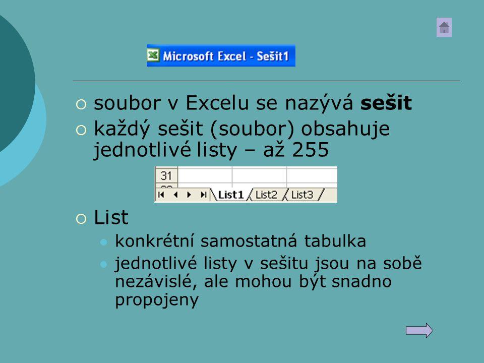  soubor v Excelu se nazývá sešit  každý sešit (soubor) obsahuje jednotlivé listy – až 255  List konkrétní samostatná tabulka jednotlivé listy v seš