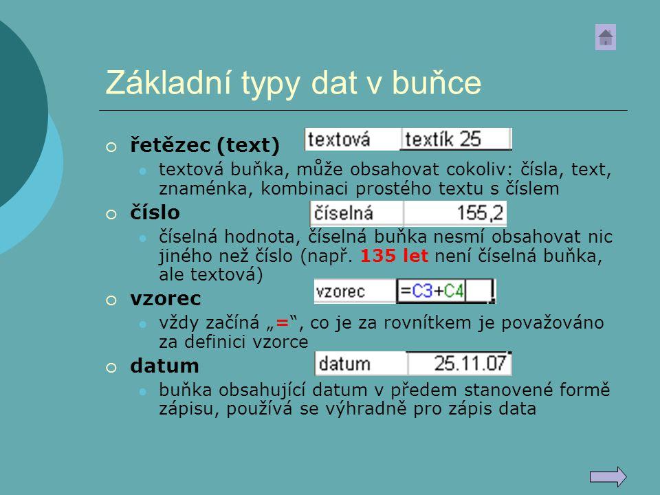 Základní typy dat v buňce  řetězec (text) textová buňka, může obsahovat cokoliv: čísla, text, znaménka, kombinaci prostého textu s číslem  číslo čís