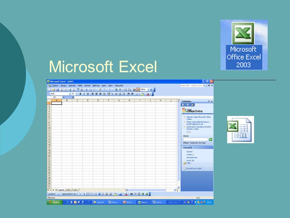 Obsah - 1  Tabulkové kalkulátory- Microsoft ExcelMicrosoft Excel  Popis prostředí Popis prostředí Vlastní nastavení prostředí  Práce se souborem Práce se souborem  Základní operace s buňkami Základní operace s buňkami Typy buňky Pohyb po buňkách Oprava obsahu buňky Dlouhý text v buňce Nastavení šířky sloupce Označování buněk Označení a pojmenování úseku buněk Přesouvání a kopírování buněk pokračování přeskočit