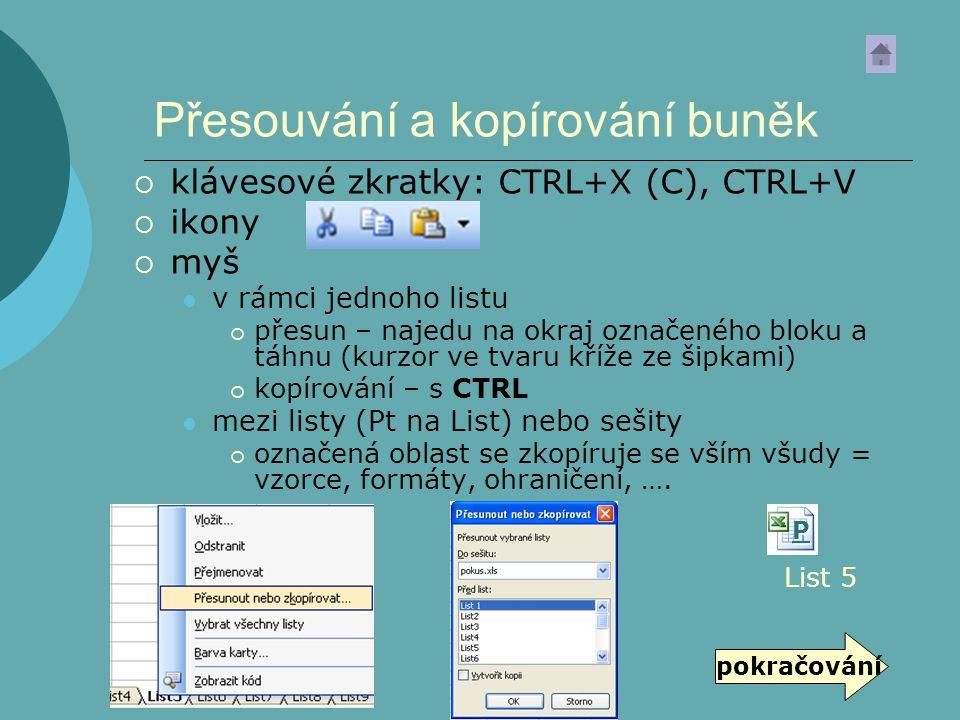 Přesouvání a kopírování buněk  klávesové zkratky: CTRL+X (C), CTRL+V  ikony  myš v rámci jednoho listu  přesun – najedu na okraj označeného bloku