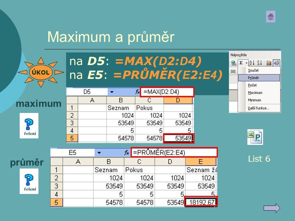 Maximum a průměr na D5: =MAX( D 2: D 4) na E5: =PRŮMĚR( E 2: E4 ) List 6 PPPP maximum průměr ÚKOL