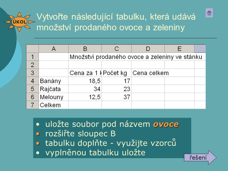Vytvořte následující tabulku, která udává množství prodaného ovoce a zeleniny ovoce uložte soubor pod názvem ovoce rozšiřte sloupec B tabulku doplňte