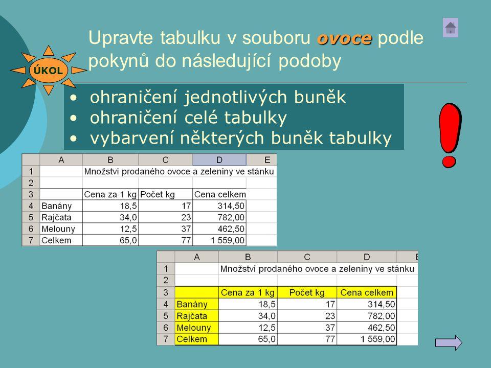 ovoce Upravte tabulku v souboru ovoce podle pokynů do následující podoby ohraničení jednotlivých buněk ohraničení celé tabulky vybarvení některých bun