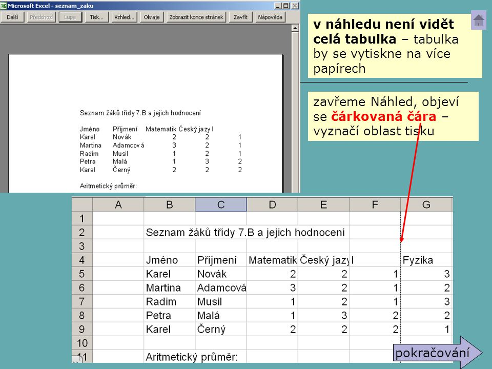 zavřeme Náhled, objeví se čárkovaná čára – vyznačí oblast tisku v náhledu není vidět celá tabulka – tabulka by se vytiskne na více papírech pokračován