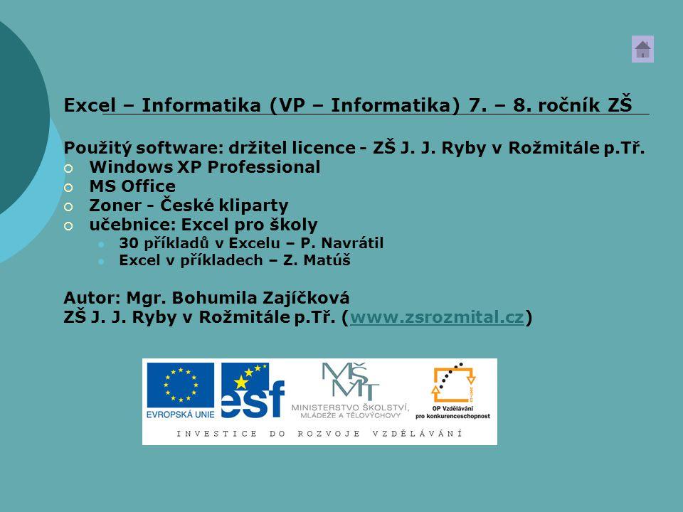 Excel – Informatika (VP – Informatika) 7. – 8. ročník ZŠ Použitý software: držitel licence - ZŠ J. J. Ryby v Rožmitále p.Tř.  Windows XP Professional