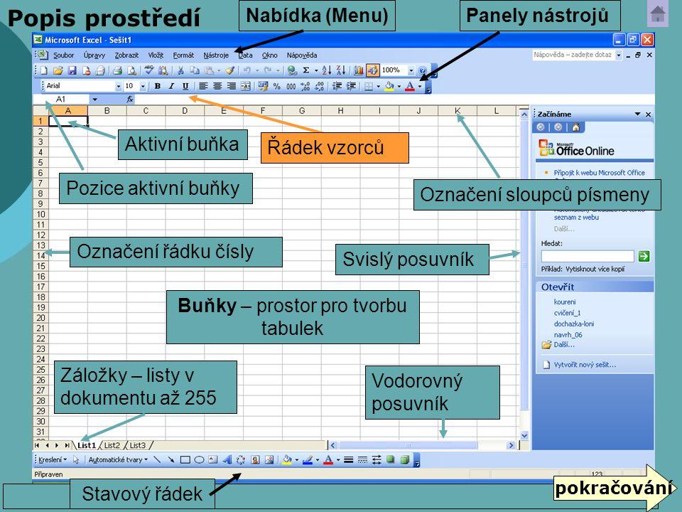 Popis prostředí  Hlavní nabídka a podnabídky (Menu) umístěny všechny funkce  Panely nástrojů – ikony (tlačítka): Zobrazit → Panely nástrojů …..