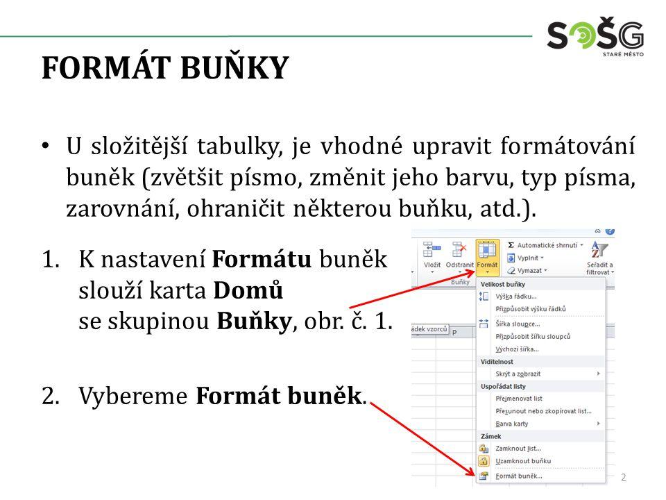 FORMÁT BUŇKY U složitější tabulky, je vhodné upravit formátování buněk (zvětšit písmo, změnit jeho barvu, typ písma, zarovnání, ohraničit některou buňku, atd.).
