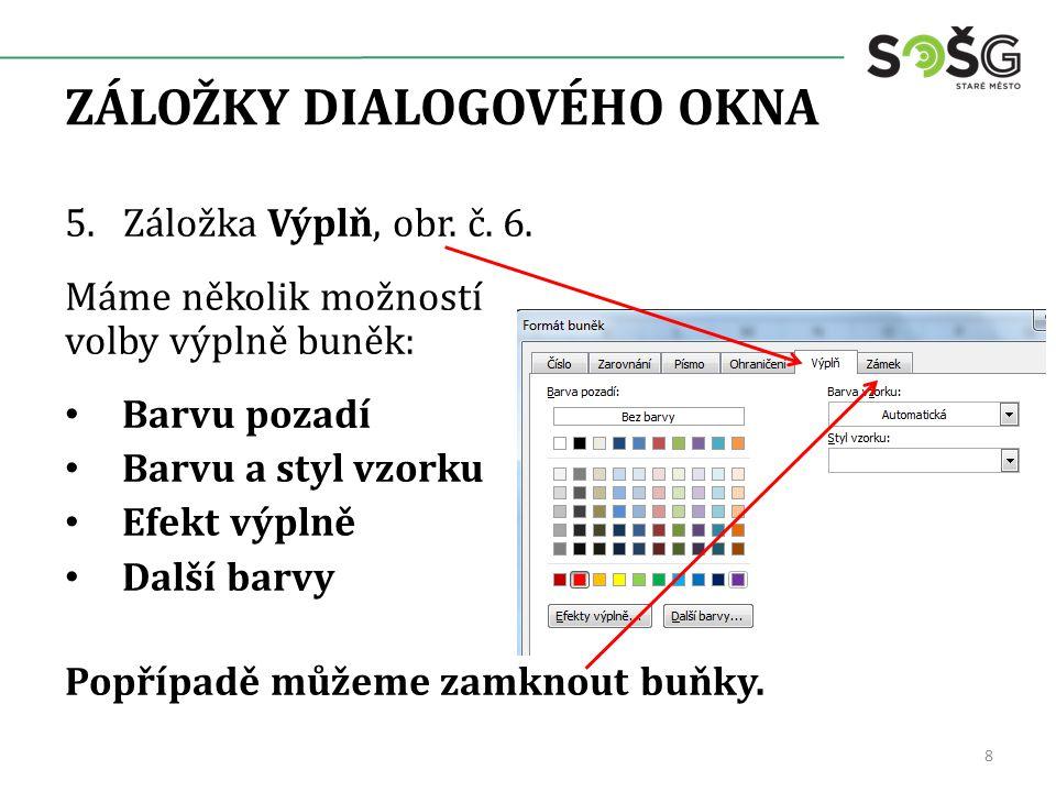 ZÁLOŽKY DIALOGOVÉHO OKNA 5. Záložka Výplň, obr. č.