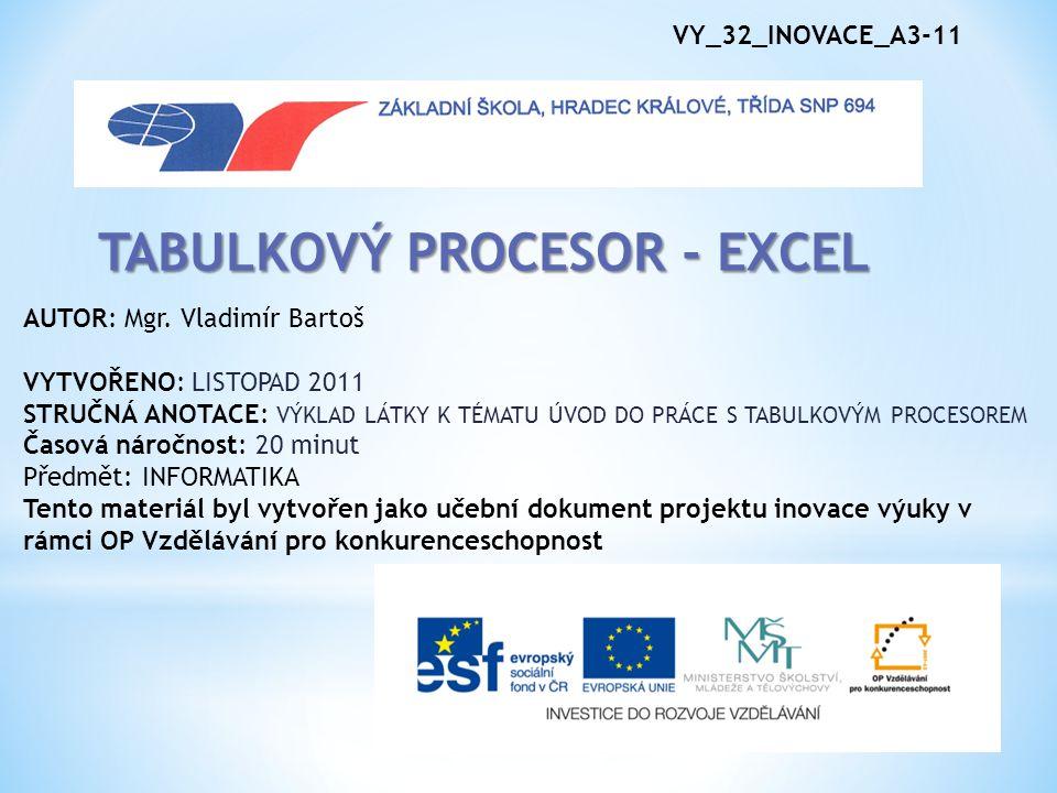 VY_32_INOVACE_A3-11 TABULKOVÝ PROCESOR - EXCEL AUTOR: Mgr.