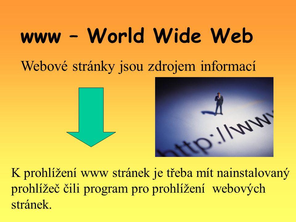 www – World Wide Web Webové stránky jsou zdrojem informací K prohlížení www stránek je třeba mít nainstalovaný prohlížeč čili program pro prohlížení webových stránek.