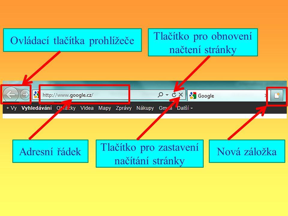 Ovládací tlačítka prohlížeče Adresní řádekNová záložka Tlačítko pro obnovení načtení stránky Tlačítko pro zastavení načítání stránky