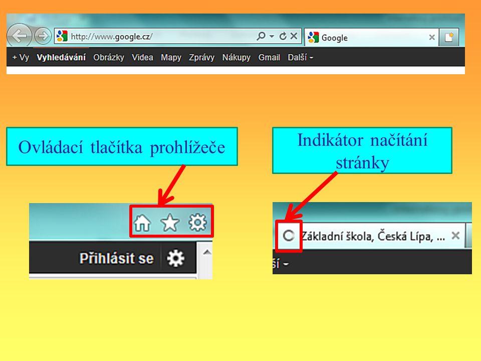 Ovládací tlačítka prohlížeče Indikátor načítání stránky
