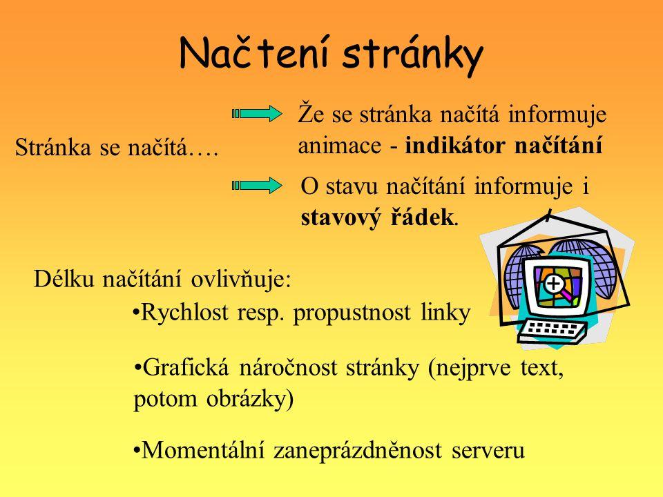 Načtení stránky Délku načítání ovlivňuje: Rychlost resp. propustnost linky Grafická náročnost stránky (nejprve text, potom obrázky) Momentální zaneprá