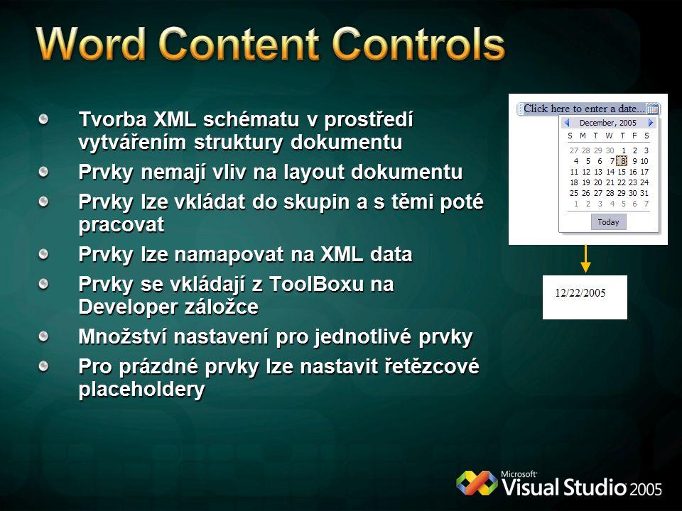 Tvorba XML schématu v prostředí vytvářením struktury dokumentu Prvky nemají vliv na layout dokumentu Prvky lze vkládat do skupin a s těmi poté pracova