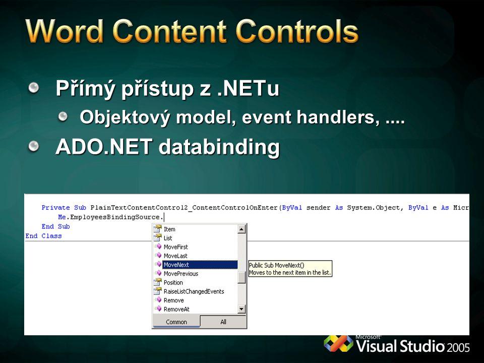 Přímý přístup z.NETu Objektový model, event handlers,.... ADO.NET databinding