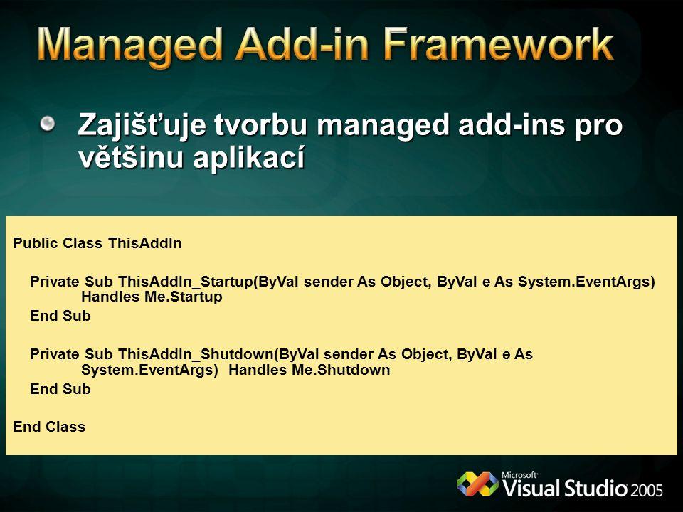 Zajišťuje tvorbu managed add-ins pro většinu aplikací Public Class ThisAddIn Private Sub ThisAddIn_Startup(ByVal sender As Object, ByVal e As System.E