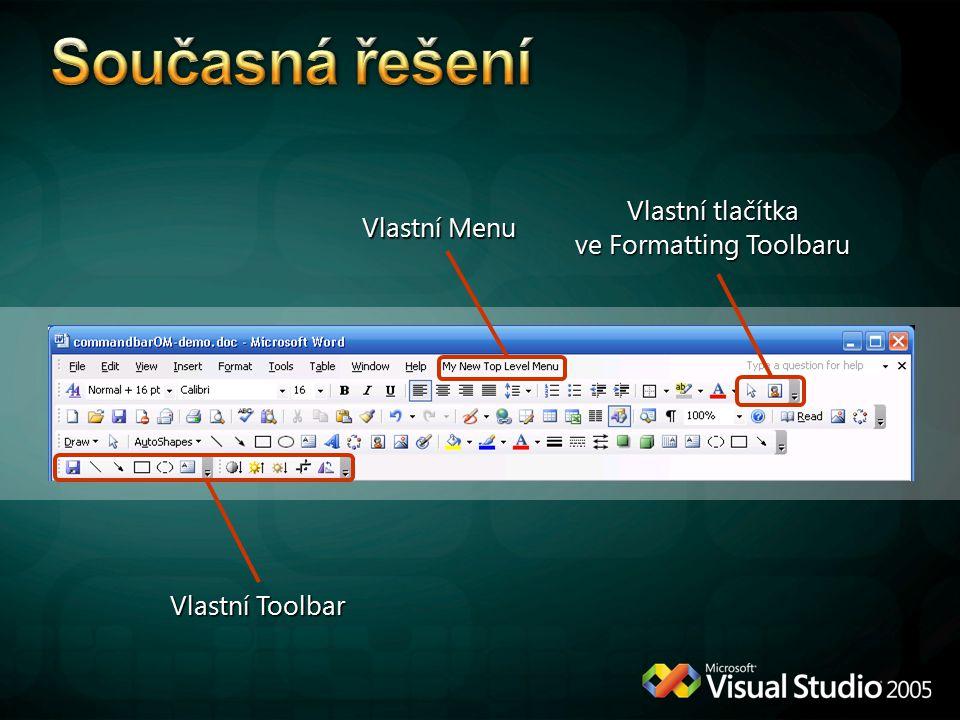 Vlastní Menu Vlastní tlačítka ve Formatting Toolbaru Vlastní Toolbar