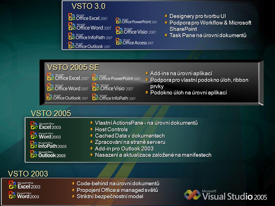 VSTO 2005 Vlastní ActionsPane - na úrovni dokumentů Host Controls Cached Data v dokumentech Zpracování na straně serveru Add-in pro Outlook 2003 Nasazení a aktualizace založené na manifestech Add-ins na úrovni aplikací Podpora pro vlastní podokno úloh, ribbon prvky Podokno úloh na úrovni aplikací VSTO 2005 SE VSTO 2003 Code-behind na úrovni dokumentů Propojení Office a managed světů Striktní bezpečnostní model Designery pro tvorbu UI Podpora pro Workflow & Microsoft SharePoint Task Pane na úrovni dokumentů VSTO 3.0