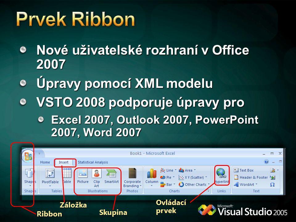 Nové uživatelské rozhraní v Office 2007 Úpravy pomocí XML modelu VSTO 2008 podporuje úpravy pro Excel 2007, Outlook 2007, PowerPoint 2007, Word 2007 Záložka Skupina Ribbon Ovládací prvek