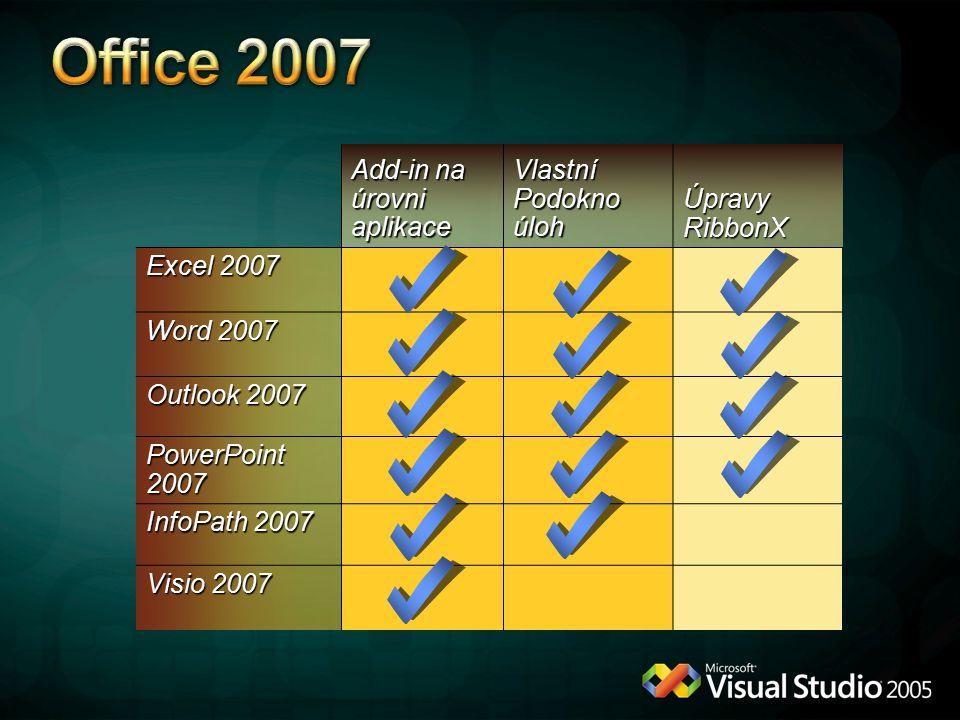 Pro dokument Pro aplikaci Instalace na úrovni aplikace Je pořád vidět Vytvoření VSTO řešení pro celou aplikaci Word Global Template Excel Add-in (.xlam) PPT Add-in (.ppam) Instalace na úrovni celé aplikace Zobrazuje se dle zobrazených dokumentů Vytvoření VSTO řešení pro dokumenty Word, Excel, PowerPoint dokumenty Access databáze COMVBAVSTO