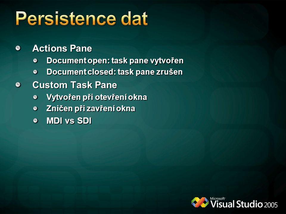 Actions Pane Document open: task pane vytvořen Document closed: task pane zrušen Custom Task Pane Vytvořen při otevření okna Zničen při zavření okna MDI vs SDI