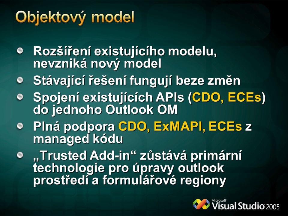 """Rozšíření existujícího modelu, nevzniká nový model Stávající řešení fungují beze změn Spojení existujících APIs (CDO, ECEs) do jednoho Outlook OM Plná podpora CDO, ExMAPI, ECEs z managed kódu """"Trusted Add-in zůstává primární technologie pro úpravy outlook prostředí a formulářové regiony"""